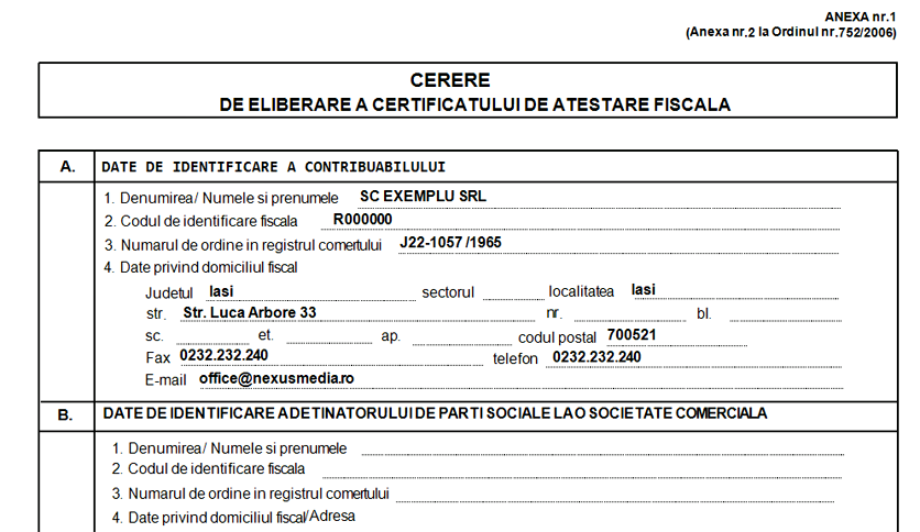 cerere eliberare certificat de atestare fiscala