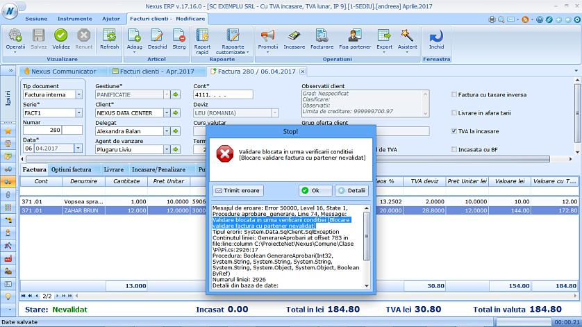 Blocare validare factura partener nevalidat 02