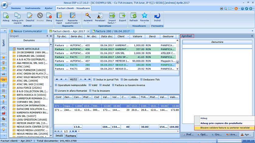 Blocare validare factura partener nevalidat 03
