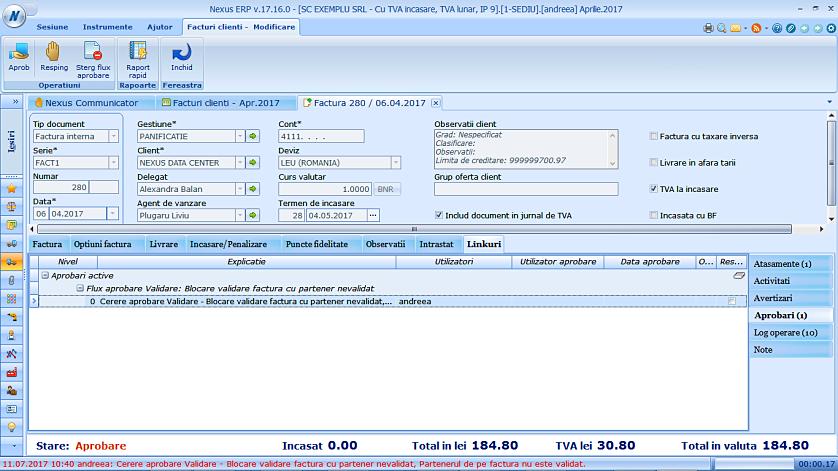 Blocare validare factura partener nevalidat 04