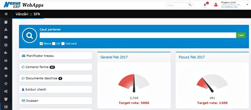 SFA grafice targete vanzari agenti si rute