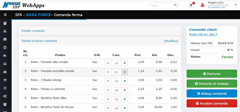 SFA WebApps Modificare cantitati comanda ferma