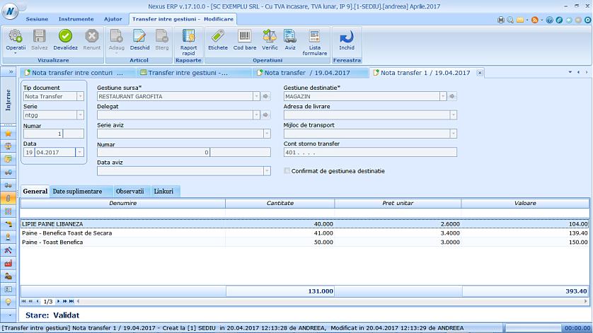 Aprobare transfer gestiune intermediara NTC 03