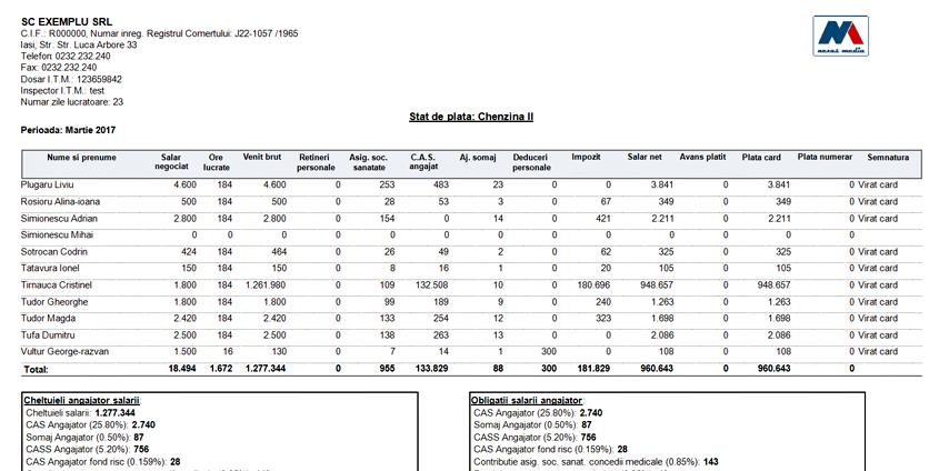 Stat de plata includere procente cheltuieli angajator 02