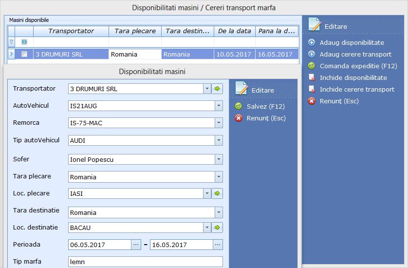 Comenzi Expeditie Modificare date in grid Disponibilitati masini