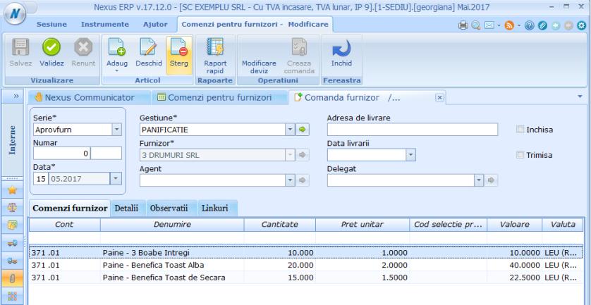 Comanda pentru furnizori Adaugare multipla in document 03