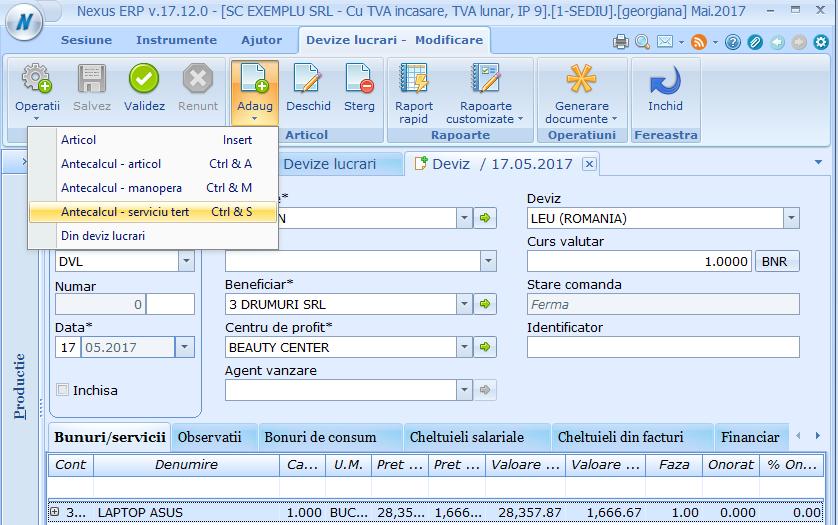 Devize lucrari Adaugare Antecalcul Serviciu Tert 01