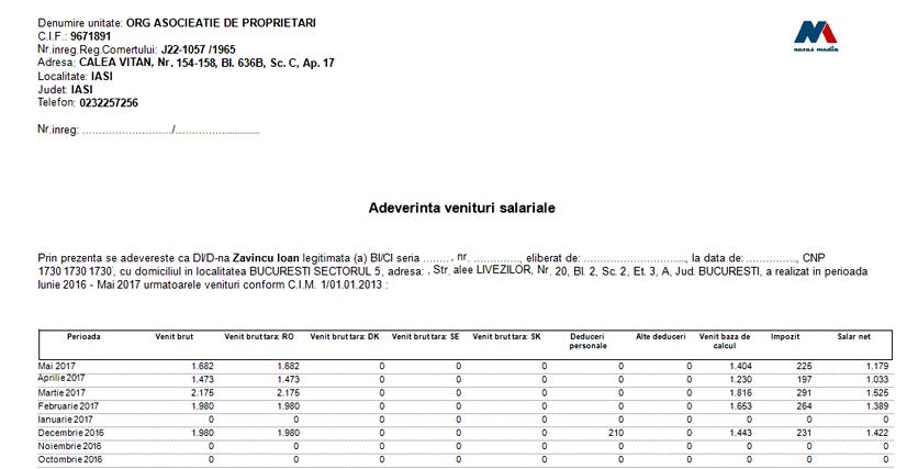 Adeverinta venituri salariale cu venituri taara impozitare 03
