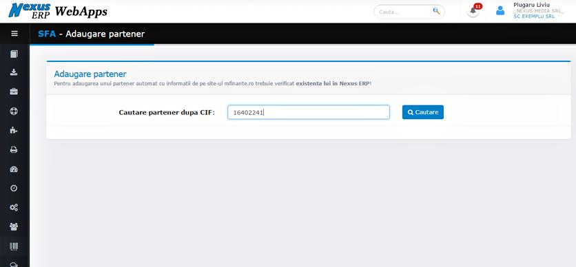 SFA WebApps adaugare partener informatii site ministerul de finante 2