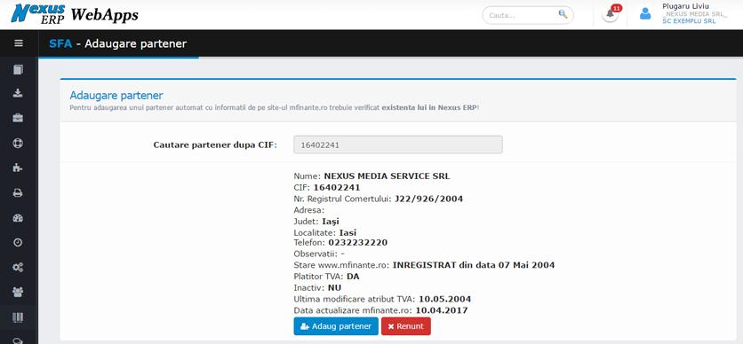 SFA WebApps adaugare partener informatii site ministerul de finante 4