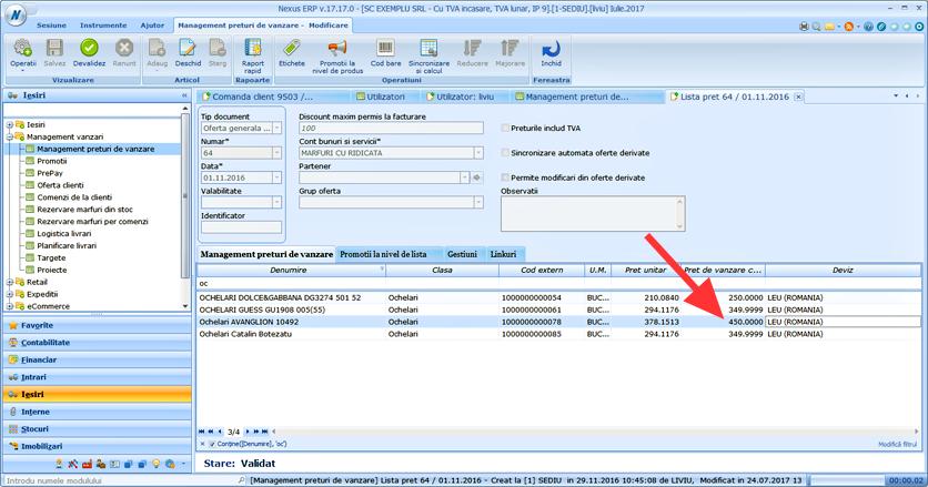 SFA WebApps adisare preturi cu TVA 2