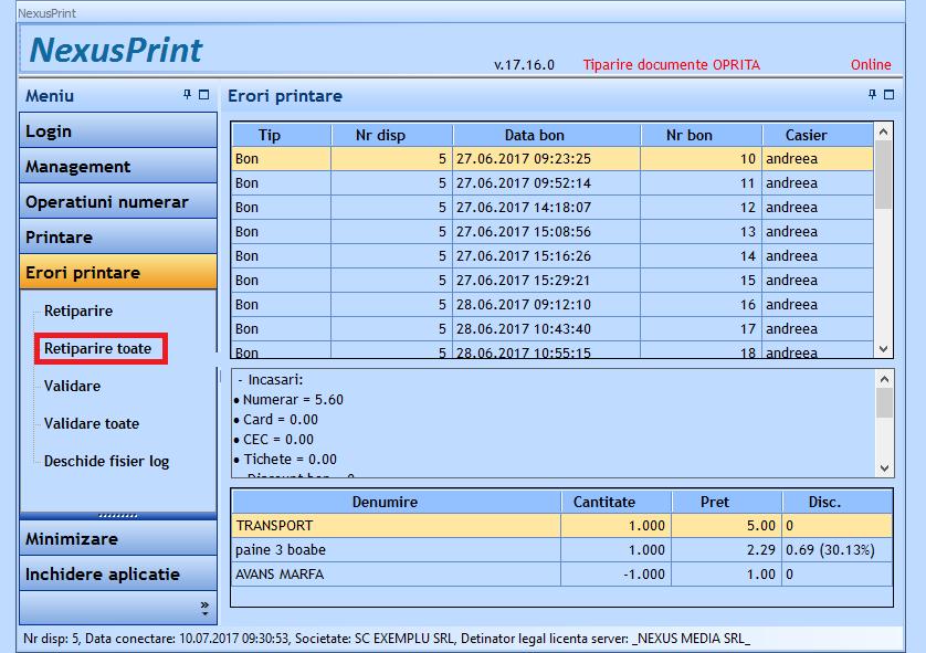 Retiparire toate bonurile cu eroare la printare 01