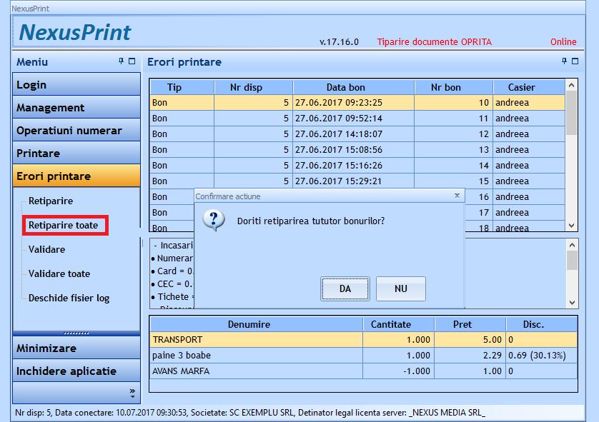 Retiparire toate bonurile cu eroare la printare 02
