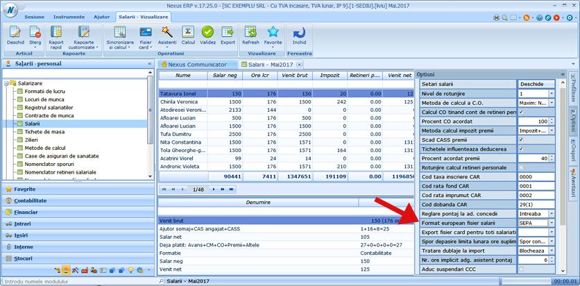 export salarii format SEPA 1