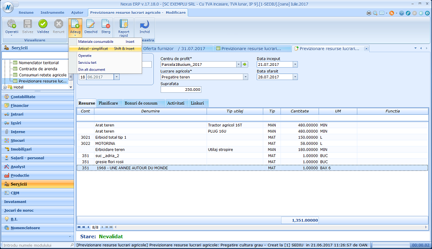 Adaugare simplificata Previzionare resurse lucr agr01