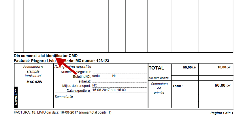 factura client cu includere identificator comanda 3