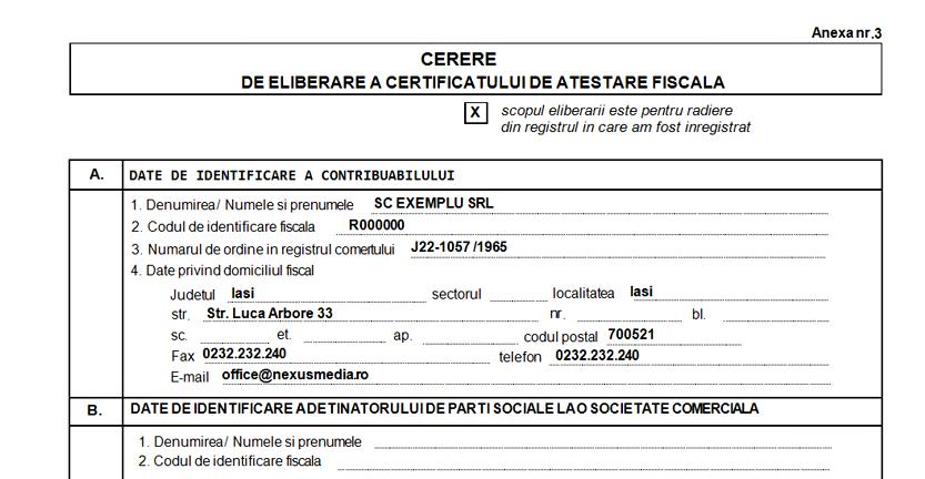 CERERE DE ELIBERARE CERTIFICAT DE ATESTARE FISCALA