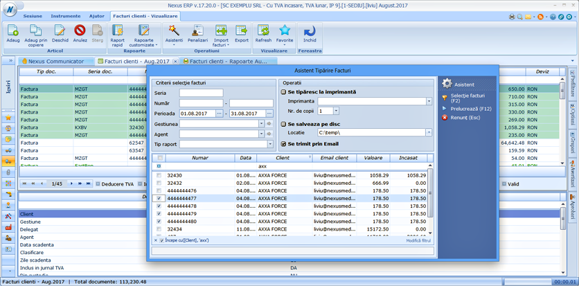 asistent trimitere facturi bloc functionalitate contclient 2