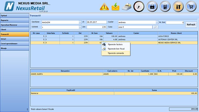 Tiparire comanda client la validare 04