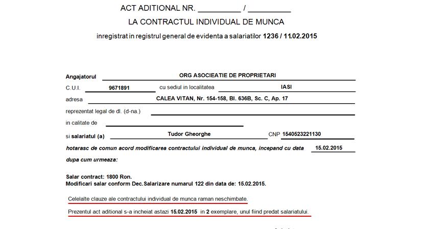 act aditional modificare contract de munca 2