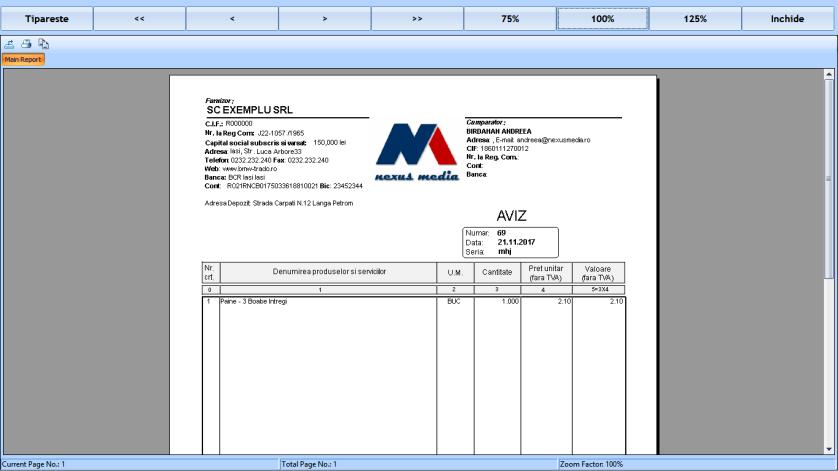 Aviz personalizat factura la bon fiscal retail 04