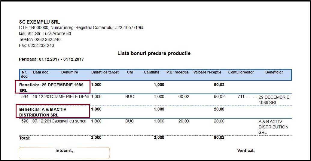 Bonuri de predare a productiei Adaugare camp nou raport 03