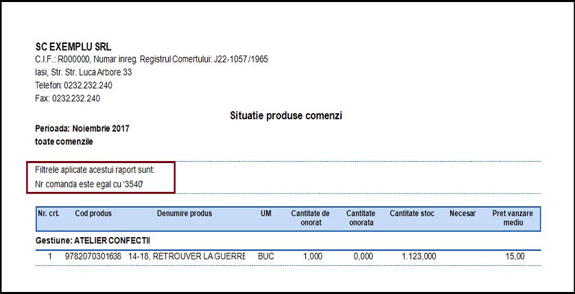 Comenzi de la clienti Adaugare campuri noi raport 06