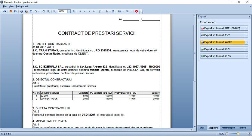 Export in format word raport text 01