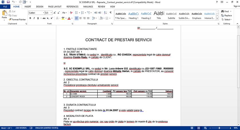 Export in format word raport text 02