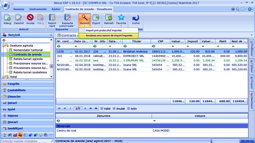 Anulare import Modul Contracte arenda 01