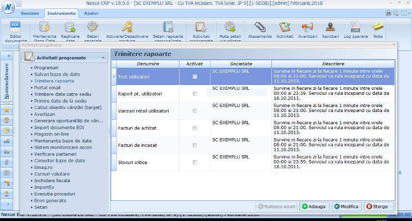 Activitati automate Creare task Trimitere rapoarte 1