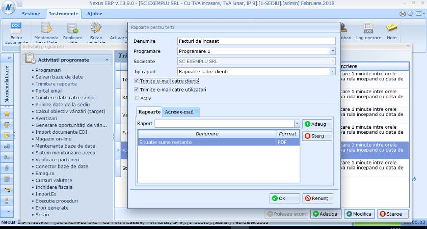 Activitati automate Creare task Trimitere rapoarte 2