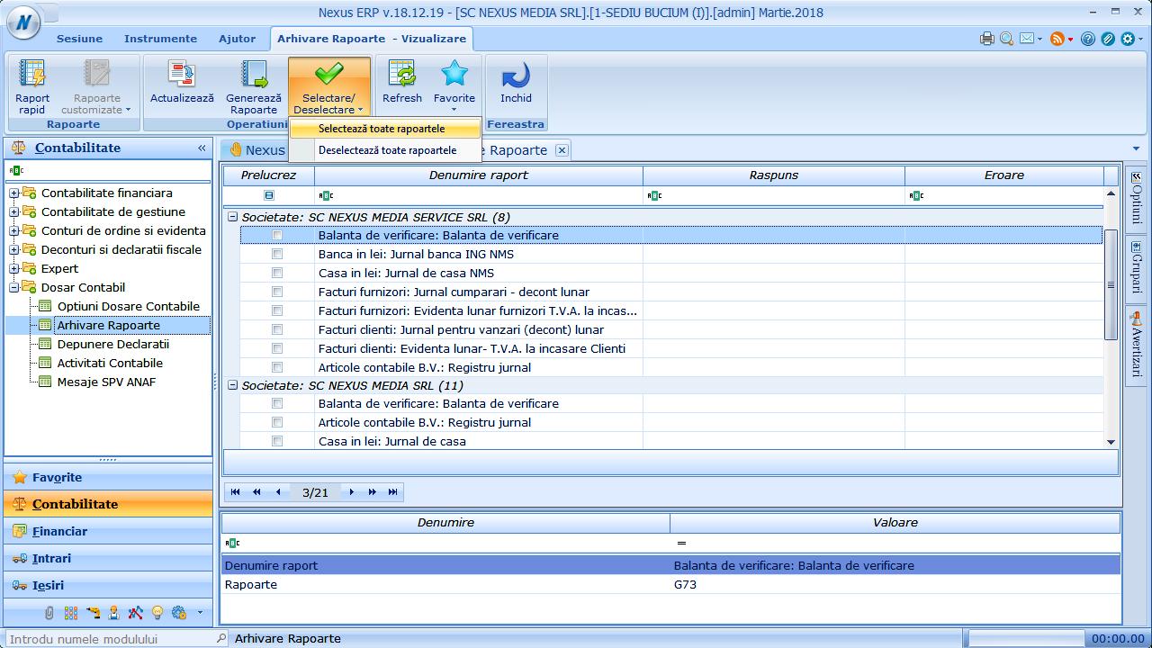 arhivare rapoarte generare