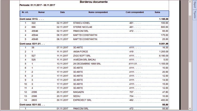 Grupare Cont lei Raport Borderou documente 03