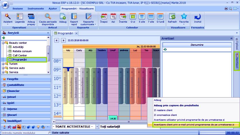 Avertizare cli prog zi Modul Programari 01