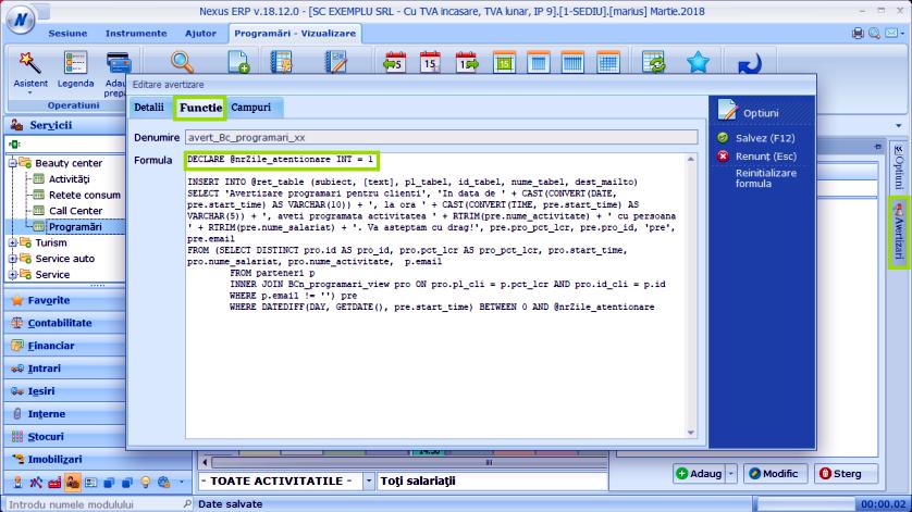 Avertizare cli prog zi Modul Programari 03