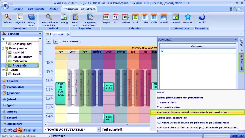 Avertizare util prog zi Modul Programari 01
