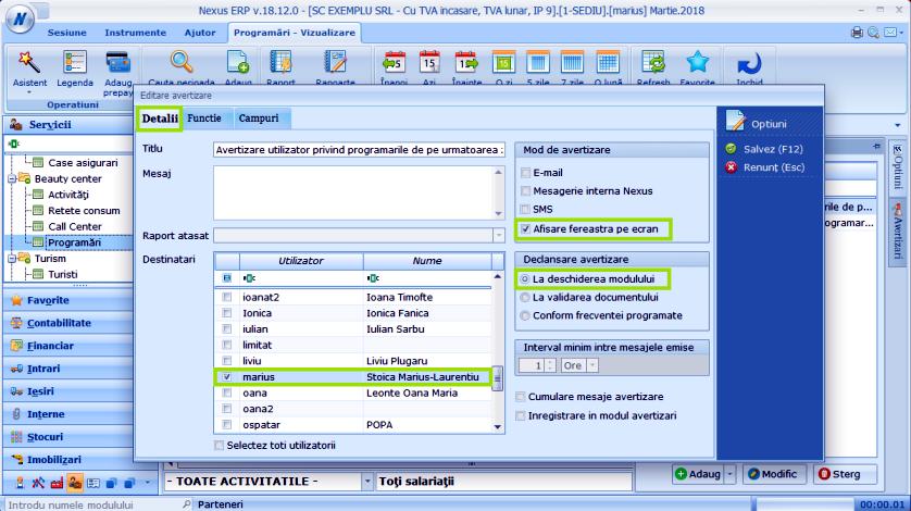 Avertizare util prog zi Modul Programari 02