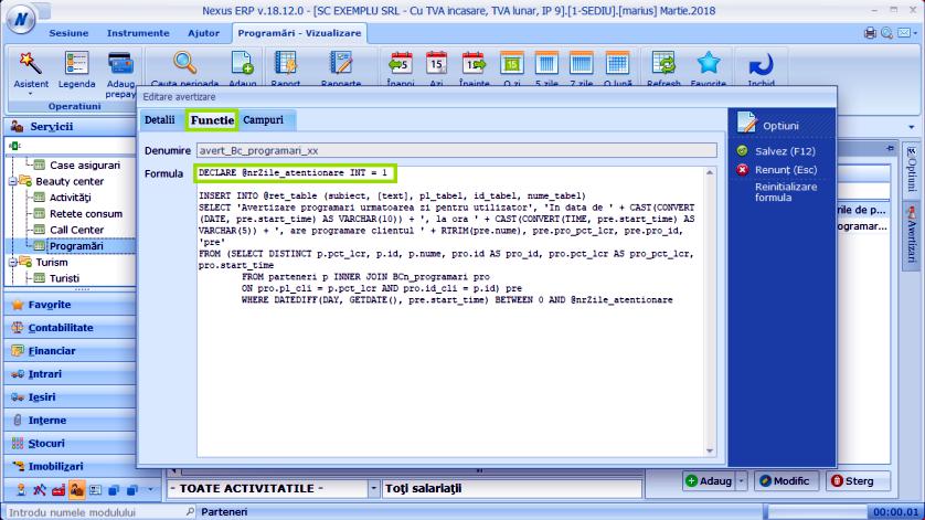 Avertizare util prog zi Modul Programari 03
