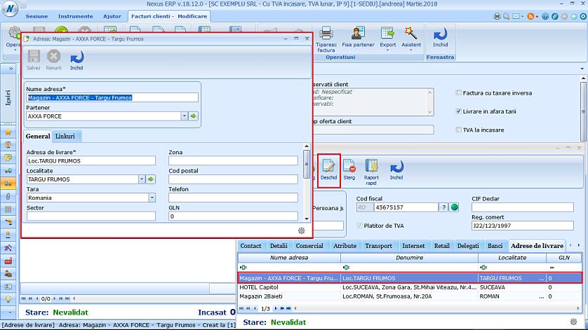 Editare adrese livrare partener fereastra simplificata 02
