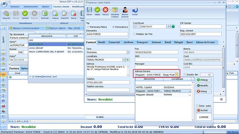 Editare adrese livrare partener fereastra simplificata 03