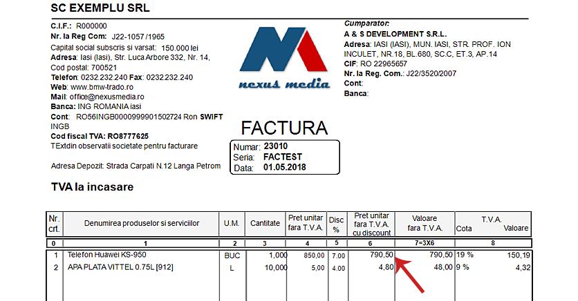 Factura client coloana discount produs 3