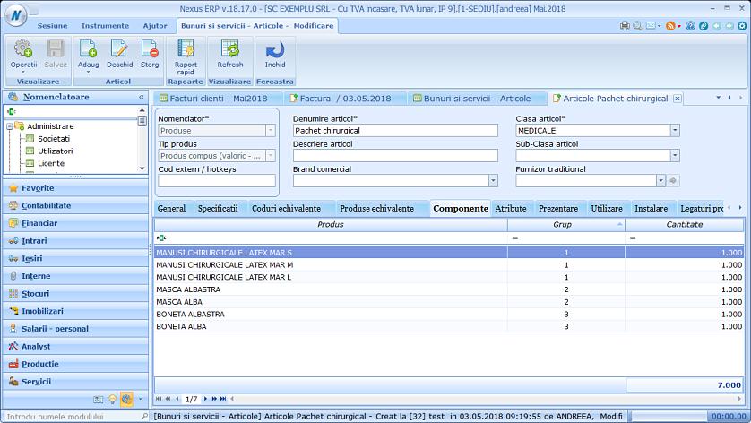 Adaugare produse compuse factura client nexus 01