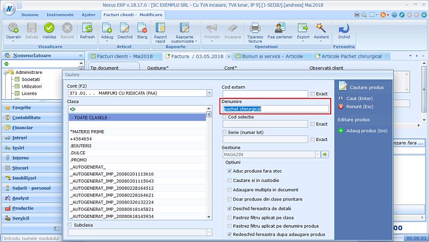 Adaugare produse compuse factura client nexus 02