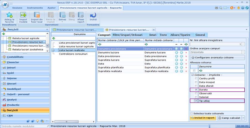 Previzionare resurse lucrari agricole campuri raport lista lucrari realizate 01