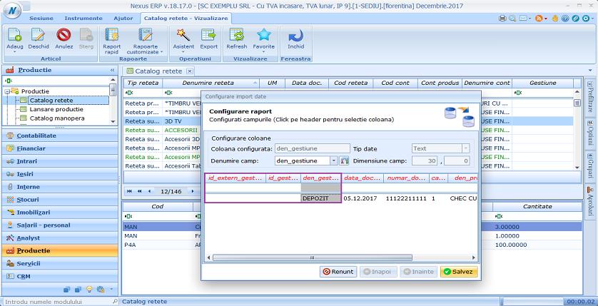 Catalog retete import retete gestiune 02