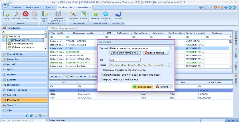 Catalog retete import retete gestiune 03