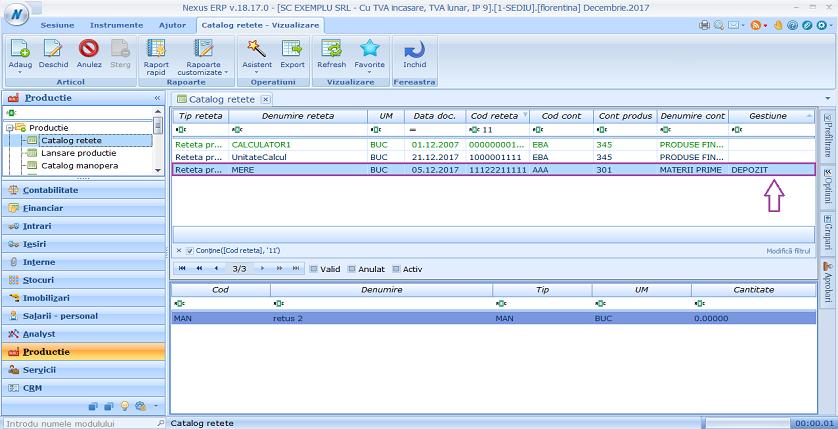 Catalog retete import retete gestiune 04