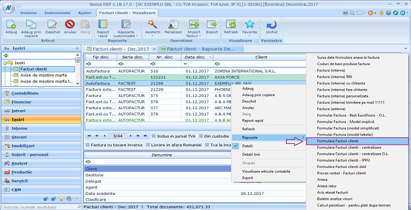 Facturi clienti formulare facturi clienti cod furnizor 02
