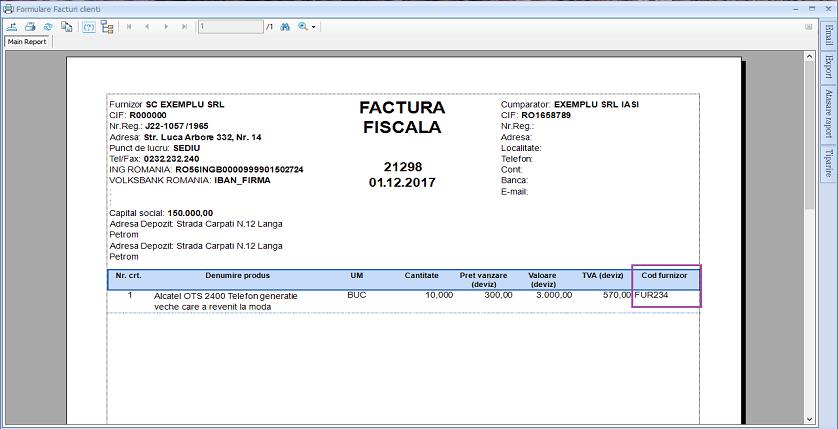 Facturi clienti formulare facturi clienti cod furnizor 03